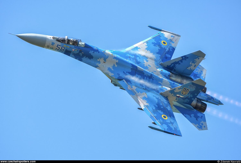 ukraine air force sukhoi su27 flankerb 58 blue